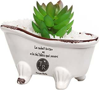 MyGift 6-Inch White Porcelain Petite French Country Style Claw Foot Bathtub Vintage Flower Pot Planter/Soap Dish