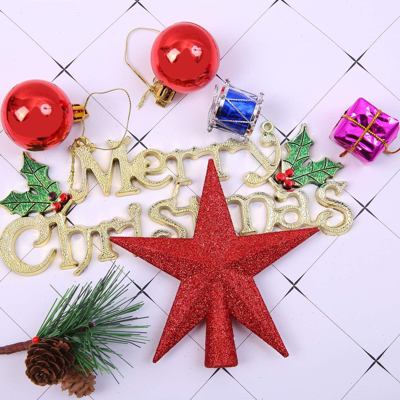Aneco 4 Pieces 4 Inches Glitter Mini Christmas Tree Topper Mini Xmas Tree Topper Ornaments for Small Christmas Tree Decoration