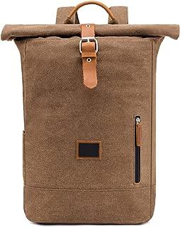 ZCLADLY New Canvas Backpack Crazy Horse Skin Outdoor Travel Bag College Trend Men's Bag (Color : Khaki)