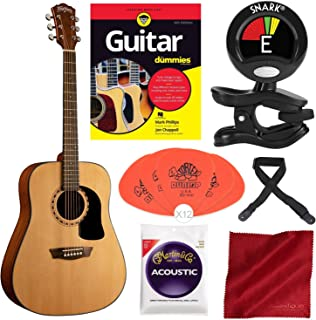 Washburn Apprentice 5 Series AD5K Dreadnought Acoustic Guitar with Guitar for Dummies, Guitar Strings, Clip-On Tuner, and Starter Pack Deluxe Accessory Bundle
