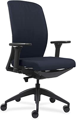 "Lorell USA Seating Adorn Chair, 47"" x 26.5"" x 25"", Black, Dark Blue"
