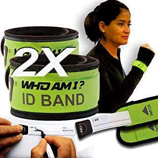 Who Am I - LED Slap Bracelet+ Identification- 2 PCS-ID Bracelet; Wrist ID; Blink or Glow; Sport ID, Safety and Visibility, Running Gear, Runners ID, Cycling ID Bracelet, LED Fits All ID, Green-Green