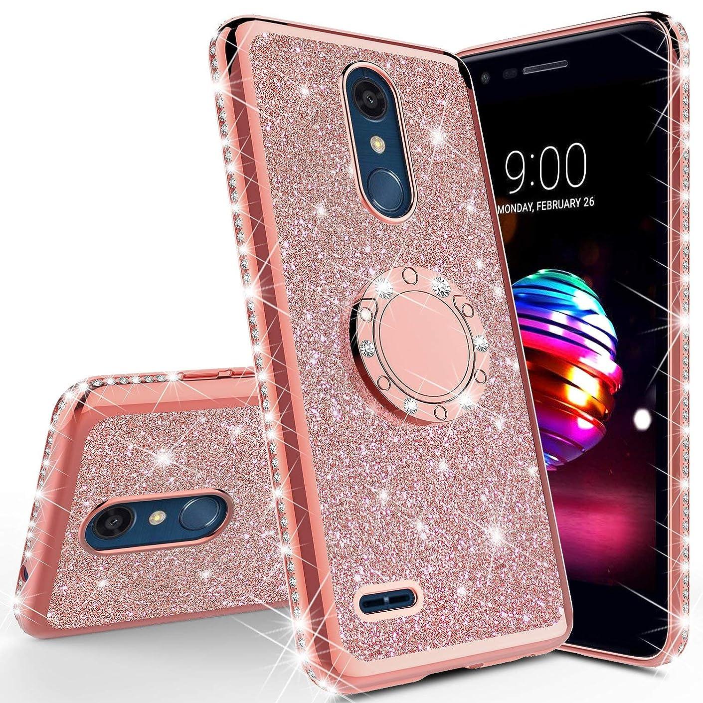 LG K10 2018/ K30 /Premier Pro LTE/Harmony 2/ Phoenix Plus/Xpression Plus Cute Glitter Bling Sparkle Diamond Studded Soft Flexible TPU Shockproof Women Ring Stand Bumper Cover + Lanyard (Rose Gold)