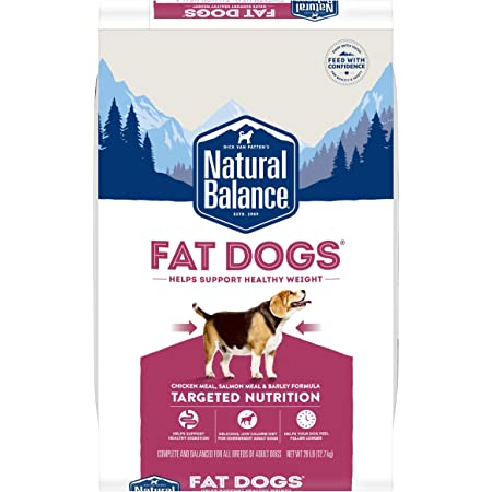 Natural Balance Fat Dogs Low Calorie Dry Chicken Meal, Salmon Meal, & Barley Dog Food for Overweight Adult Dogs
