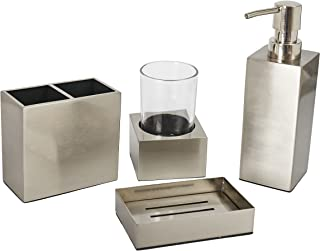 YangShiMoeed Stainless Steel Bathroom Accessories Set,Lotion Dispenser,Toothbrush Holder, Tumbler Set,Soap Dish