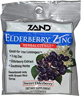 Zand, (6 Pack) Elderberry Zinc, Herbalozenge, Sweet Elderberry, 15 Lozenges