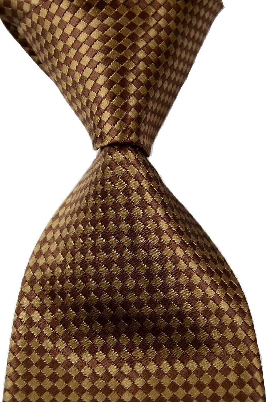 Mr.ZHANG New Manufacturer OFFicial shop Classic Checks Brown Men Silk Save money WOVEN Coffee JACQUARD