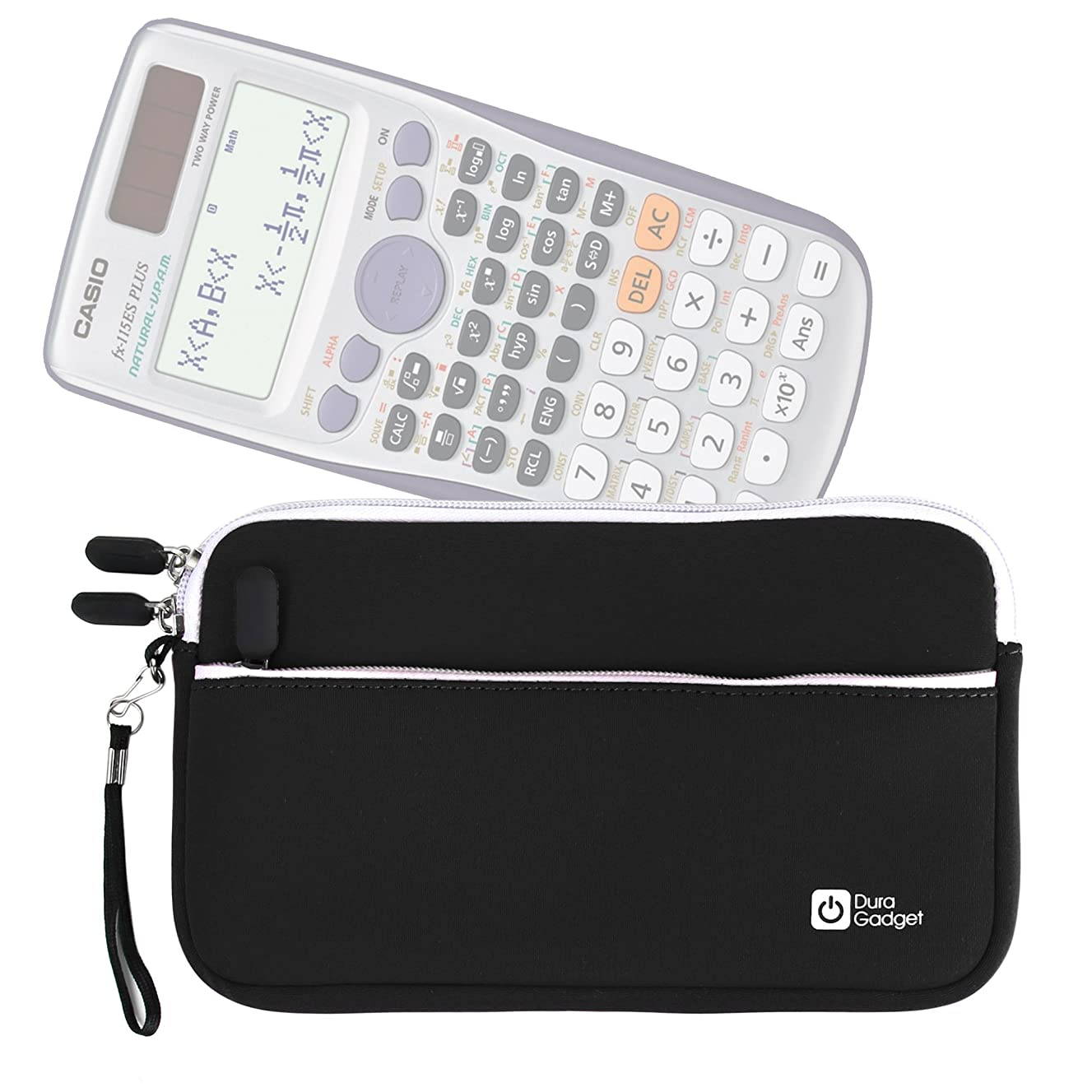 DURAGADGET Black Water & Scratch-Resistant Neoprene Case - Compatible with Casio fx-115ES Plus Calculator