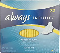 Always Infinity Unscented Pads with Wings, Regular Flow, 72 Count