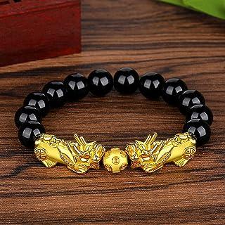 siboya imitation gold and obsidian six-character mantra buddha beads and brave bracelets