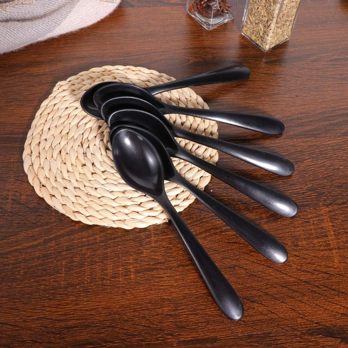 Cabilock Juego de 6 cucharas asi/áticas de melamina para sopa con mango largo cucharas de pl/ástico ramen cucharas asi/áticas japonesas para arroz wonton