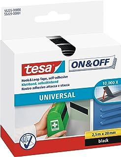 tesa 55225-00000-02 55225-00000-02-Cinta de Cierre Uso Universal ON&Off-2,5m x 20mm, Negro, Not_applicable, 2.5mx20mm