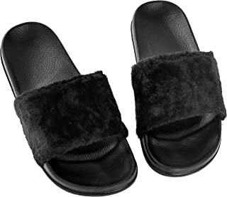 Fashion-zone Women's Vegan Faux Fur Slippers Fuzzy Slides Fluffy Comfy Flat Sandals Open Toe Indoor Outdoor