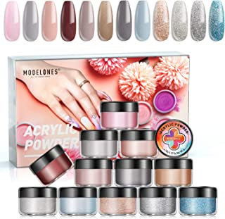 MODELONES Acrylic Powder Nude Gray Color Set 12 Color Professional Polymer Colorful Kit