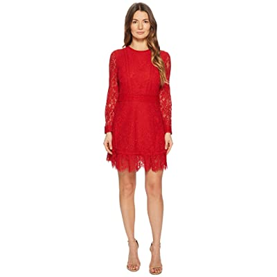 The Kooples Lace Dress with Lace Stripe (Red) Women