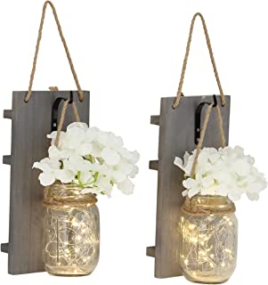 Rustic Wall Sconces - Mason Jars Sconce, Rustic Home Decor,Wrought Iron Hooks, Silk Hydrangea and LED Strip Lights Design 6 Hour Timer Home Decoration (Set of 2)(Gray)