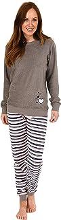 RELAX by Normann Damen Frottee Pyjama Langarm mit B/ündchen 291 13 571 Streifenhose und Eiskristall-Motiv