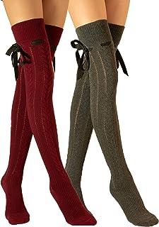 2 Pack extra largo sobre la rodilla hasta el muslo, calcetines largos, lazo y cinta, punto de algodón, niñas y mujeres, fabricado en Europa