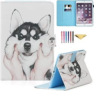 iPad Mini Case, Mini 2 3 4 Mini 5 Case Cover, MonsDirect Leather Smart Kickstand Case Flip Wallet Protective Case Compatible with Apple iPad Mini 1 2 3 4 Mini 5 2019, Cute Dog