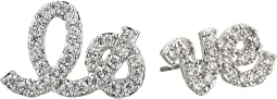 Betsey Johnson - Blue by Betsey Johnson 'Love' Studs with Pave Accents Earrings