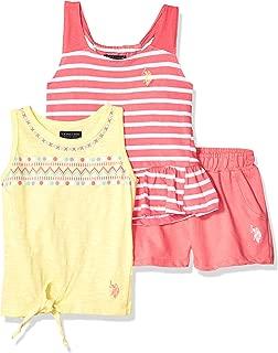 U.S. Polo Assn. 女童 3 件套束腰外衣、针织背心和套穿短裤套装