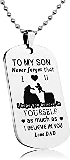LITTONE Dad Mom to Son Mens Jewelry Dogtag Pendant Necklace Military Stainless Steel Dog tag Love Gifts