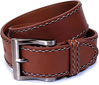 CW4 Womens Real Genuine Leather Tan Brown Belt 1.25 Wide S-L Thick Casual Jeans