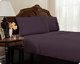 Reversifi - Embroidered Bed Sheet Set - Brushed Microfiber - 18 Colors Available - Queen -	Hortensia/Purple
