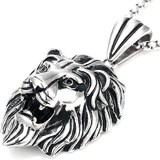 DonDon - Collana da uomo in pelle o in acciaio inox e ciondolo con leone in acciaio inossidabile, in sacchetto per gioiell...