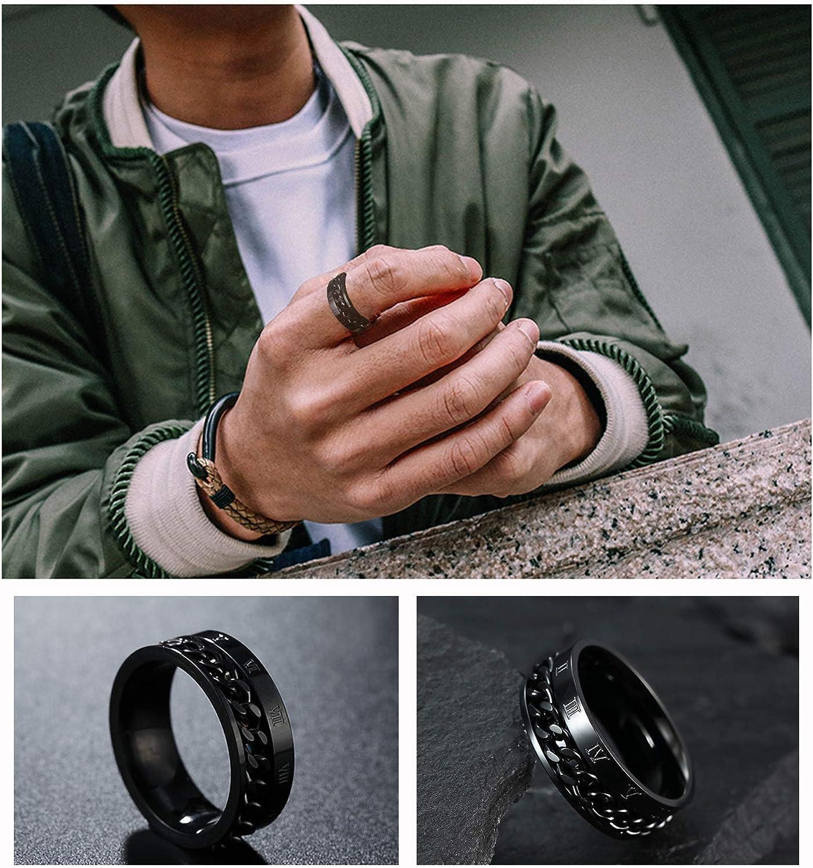 JEWPARK 3PCS Mens Stainless Steel Black Signet Biker Rings for Men Fidget Chain Ring Cuban Link Band Ring Set