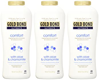 Gold Bond Ultimate Comfort Body Powder 10 oz. (Pack of 3), Talc-Free Formula with Aloe & Chamomile