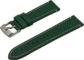 Quick Release Real Leather Hypoallergenic Watch Band Strap with Titanium Buckle