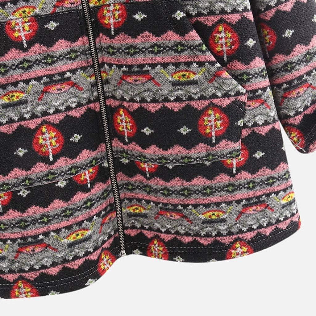 Andouy Damen Faux-Fleece-Mantel Warme Mode Print Reißvers Outwear Übergroße Jacken mit Taschen Rosa