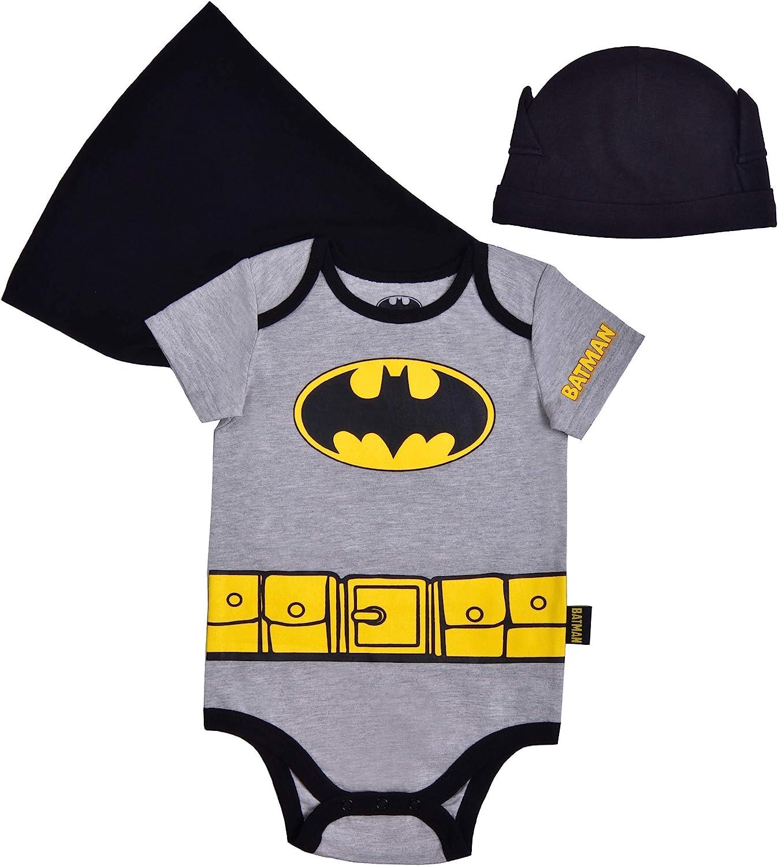 Batman Boy's Short Sleeve Creeper with Cap, Superhero for Baby