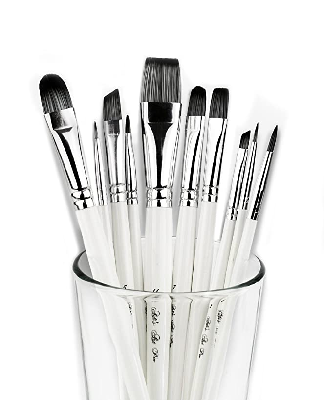 Adi's Art Pro Paint Brushes Set for Acrylic Oil Watercolor, Artist Face and Body Professional Painting Kits with Synthetic Nylon Tips, 10 Pieces - White