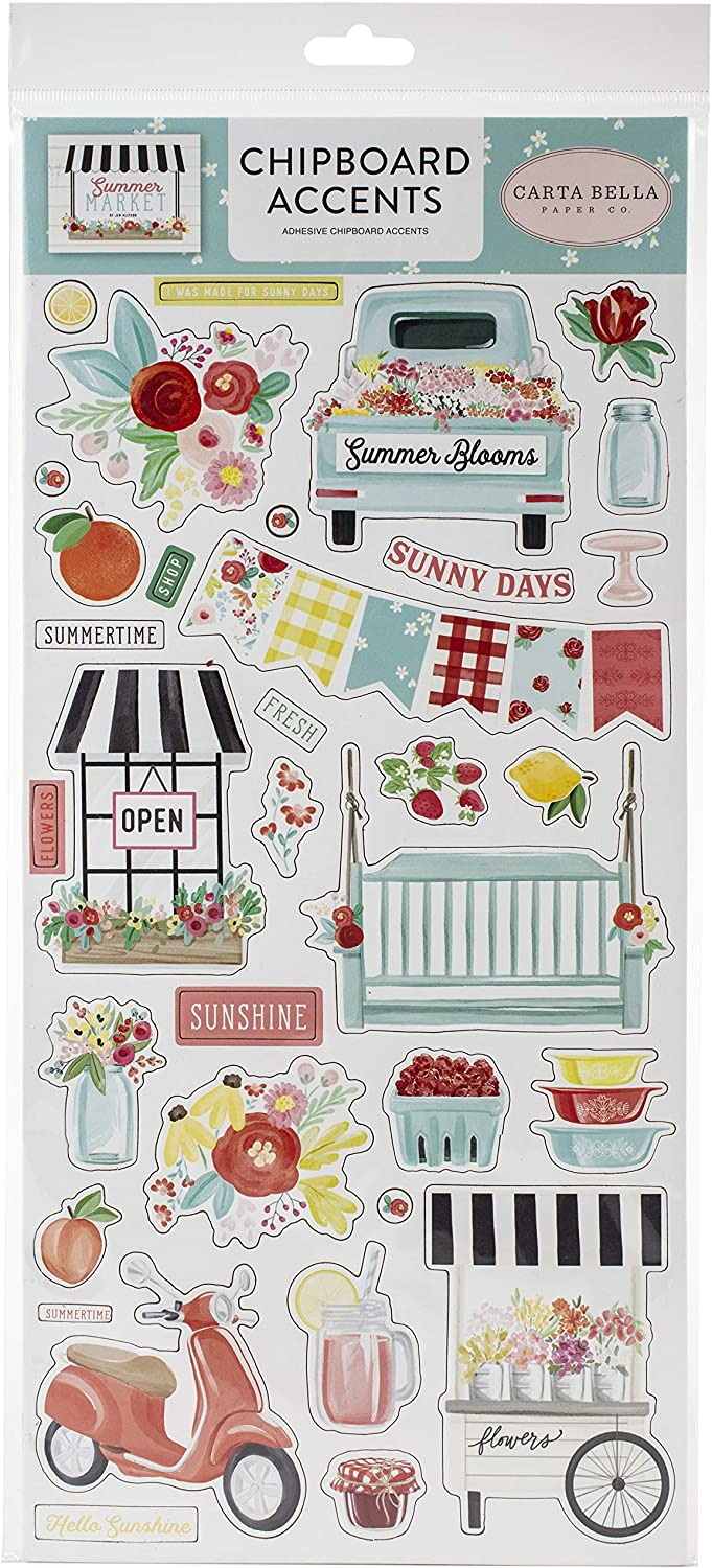 Carta Bella Paper Company Limited time for free shipping Summer 6x13 2021 Market chipboard Accents