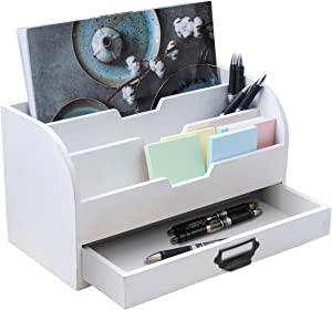 Emaison White Wooden Desk Organizer with Sliding Drawer, 3 Tire Office Mail Sorter for Letters, Envelopes, Magazines, Kitchen Counter (13 x 6.3 x 7 Inch)