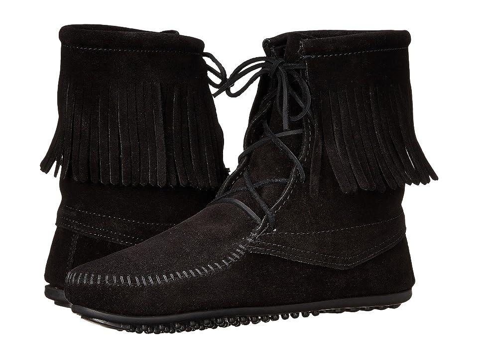 Minnetonka Tramper Ankle Hi Boot (Black Suede) Women