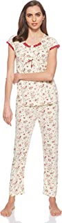 JOANNA Women's Floral Pattern Pajama Set, Medium, Dark Pink
