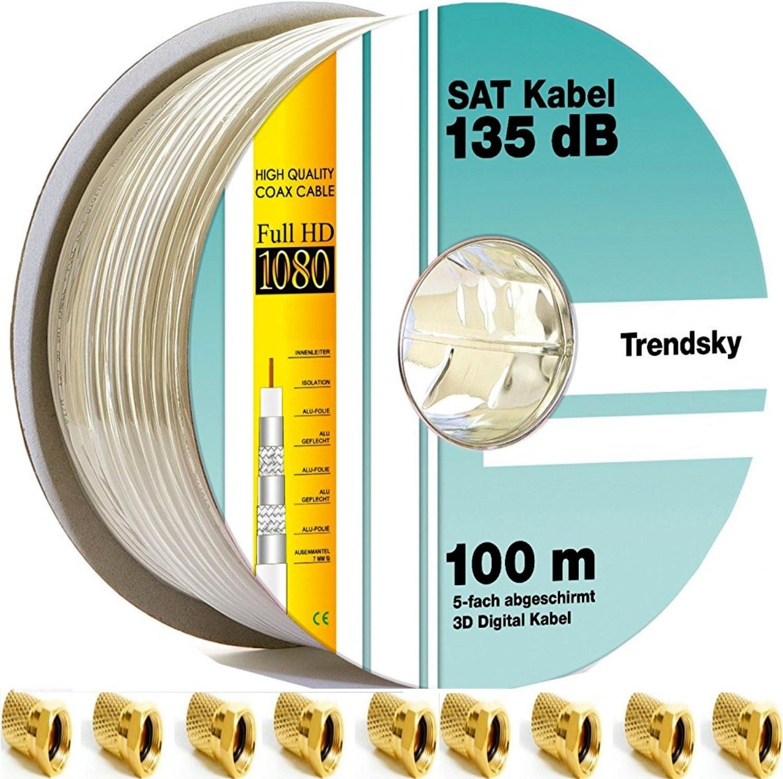 Cable coaxial 135 dB, de 5 hilos, para antena, satélite, para sistemas DVB-S/S2 DVB-C y DVB-T BK, Full HD y otros 100 Meter + 20 F-Stecker Weißes ...