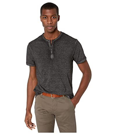 Buffalo David Bitton Kasum Short Sleeve Split Neck Henley (Black) Men