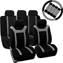 FH Group FH-FB070115+FH2033 Sports Fabric Car Seat Covers, Airbag Compatible and Split Bench with Steering Wheel Cover, Seat Belt Pads Gray- Fit Most Car, Truck, SUV, or Van