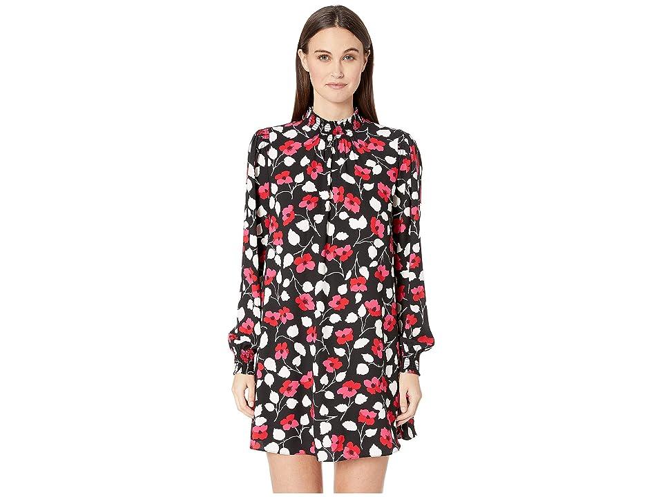 Kate Spade New York Dashing Beauty Vintage Fleur Crepe Dress (Black) Women