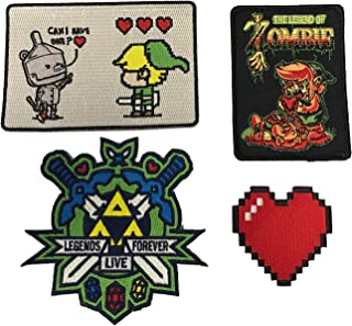 Tin Man, Legend Zombie, Legends Live Forever & 8-Bit Heart Video Game Set of 4 Die Cut Embroidered Iron On Patch Applique