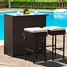 Tangkula Patio Bar Set, 3 Piece Outdoor Rattan Wicker Bar Set with 2 Cushions Stools & Glass Top Table, Outdoor Furniture ...