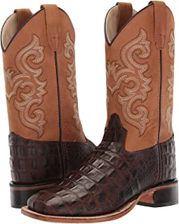 Old West Kids Boots - Brown Croc Print Square Toe Boot (Toddler/Little Kid)