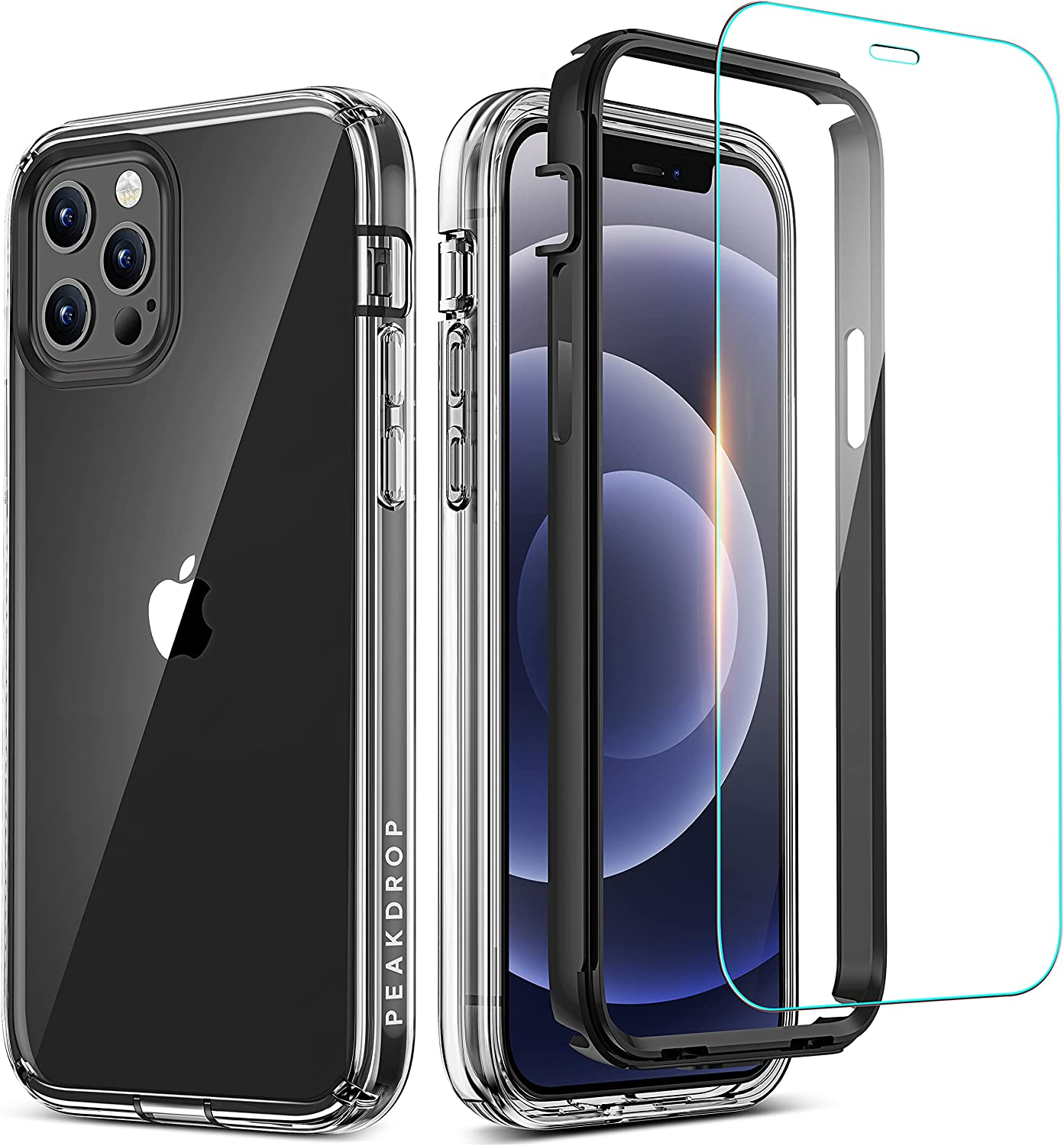 PeakDrop Compatible with iPhone 12 Case/iPhone 12 Pro Case, Clear Full Body Heavy Duty [Non-Yellowing] Protective Transparent Cover (2X Glass Screen Protector Included) - Black