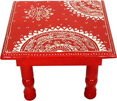 Indian Low Sitting Stool Kaanus Home D/écor Hand Made Wooden//Pooja Chowki Bajot//Foot Stool//Christmas//New Year Gift Sea Green, 9 Inch