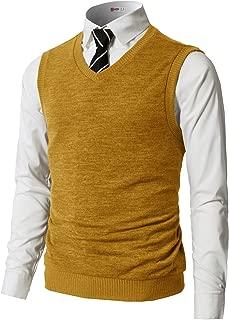 H2H Mens Slim Fit Basic Plain Knitted V-Neck Pullover Sweaters Vest