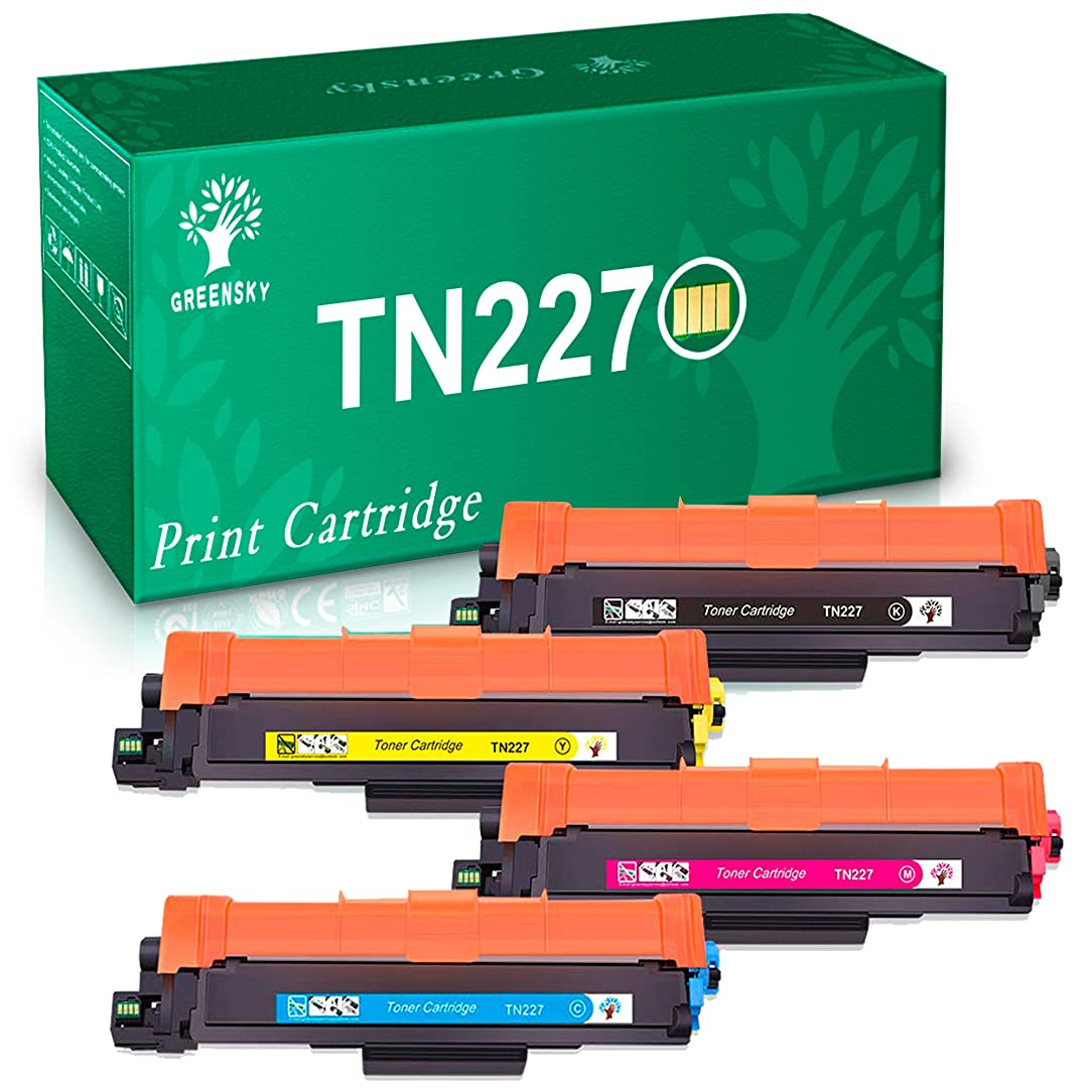 GREENSKY (with Chip) Compatible Toner Cartridge Replacement for Brother TN-227 TN227 TN223 for MFC-L3750CDW MFC-L3710CW HL-L3290CDW HL-L3210CW HL-L3230CDW HL-L3270CDW MFC-L3770CDW - 4 Pack